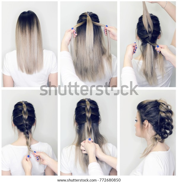 Before After Hairstyle Tutorial Hairdresser Making Stock ...