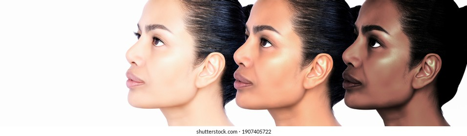 Before and after Healing removing Problem of facial Wrinkles, melasma, Dark spots, freckles, dry skin on middle age woman face skin care and Cosmetology concept. Studio headshot isolated on white.