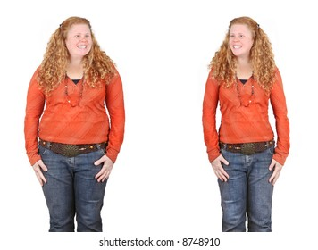 before and after images of the same girl fat and slim - weight loss, diet, positive change concepts
