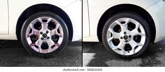 Before and after iron remover treatment on car wheels. Close up of automobile tire during the removal of ferrous residues. How to avoid iron contamination. Rims turn purple after applying iron remover
