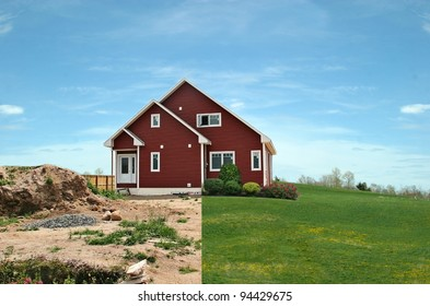 Before and after landscaping in one photo