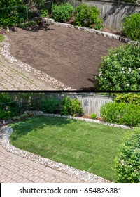 Before and After Laying New Sod in a Backyard Garden