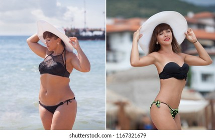 Before and after losing weight. Thick woman in bikini against the beach. Diets and a healthy lifestyle. Liposuction results.