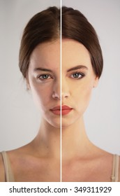 Before and after make-up. Photo retouching concept