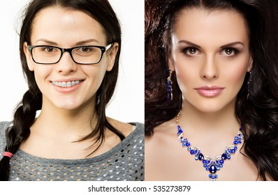 Before after. Nerd girl turns into a beauty queen. Ugly duck. Beauty and success. Transfiguration of the ordinary in a stylish beauty model
