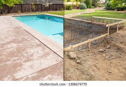 Before and After Pool Build Construction Site.