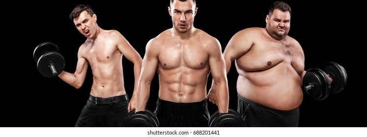 Before and after result. Group of three young sports men - fitness models holds the dumbbell on black background. Fat, fit and athletic men. Ectomorph, mesomorph and endomorph . Sport concept