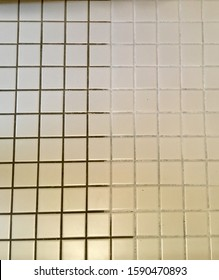 Before and after results from cleaning the grout on the bathroom floor