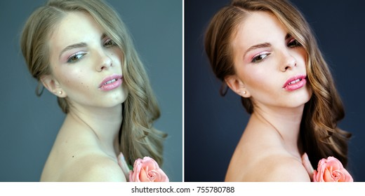 Before and After Retouch Example. Young woman