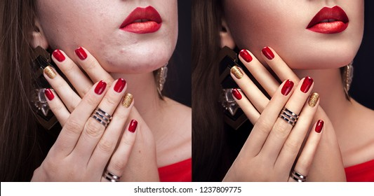 Before and after retouching in editor. Side by side beauty portraits of woman with makeup and manicure edited