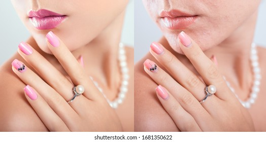 Before and after retouching nail art design in editor. Beauty fashion portraits of woman with makeup and manicure edited