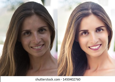 Before and after retouching photo collage. Hi-end retouching