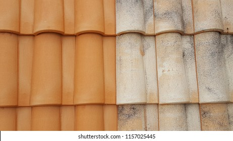 before after roof restauration tiles half clean and dirty