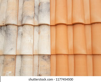 before after roof restauration tiles half clean and dirty after the passage of a high-pressure jet