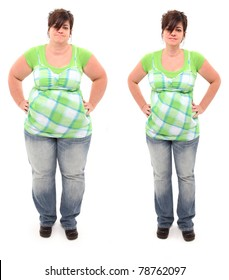 Before and after shot of 45 year old overweight woman standing over white.