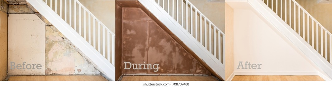 Before, during and after images with text, of the renovation of a wall under a domestic staircase. The bare wall, plastered and still wet, and painted and finished with trimmings and skirting boards.