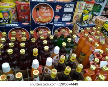 before Eid many syrup and snacks promos at minimarkets for gifts, Purwokerto / Indonesia, May 11, 2019
