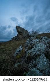 Before sunrise, the Hölzlstein in Burgenland, Austria is a mystic place