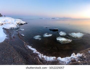 Before sunrise. lake Ladoga. Karelia. January 2018.  Invited to tour in the winter of Karelia