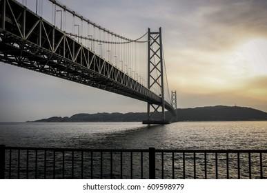 Before Sunset at Akashi-Kaikyo Bridge