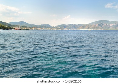 before sunset remote view of Marmaris town coastline