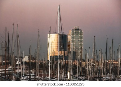 Before sunset - seaport in Barcelona