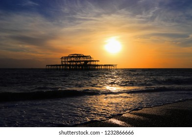 Before sunset at West Pier in Brighton on the south coast of England, seaside resort Brighton and Hove, East Sussex, United Kingdom.