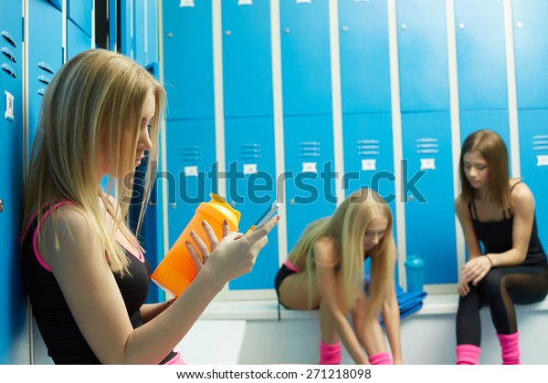 Before Training Sexy Girls Resting Locker Stock Photo Edit Now