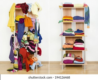 Before untidy and after tidy wardrobe with colorful winter clothes and accessories. Messy clothes thrown on a shelf and nicely arranged clothes in piles.