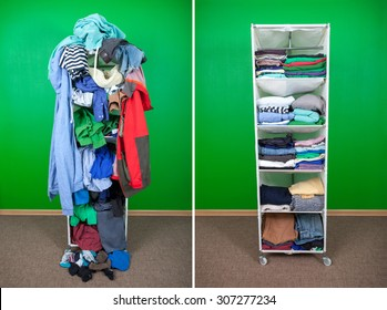 Before untidy and after tidy wardrobe with colorful clothes and accessories. Messy clothes thrown on a shelf and nicely arranged clothes in piles