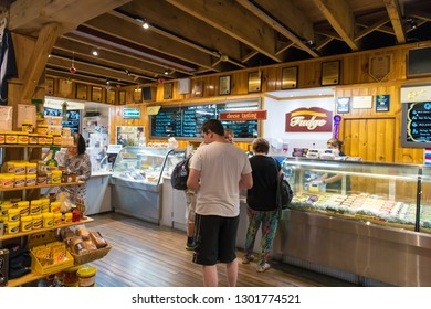 Bega, NSW, Australia-December 27, 2018: Bega Cheese Heritage Centre shop in the historical city of Bega, NSW, Australia, well known for dairy farming and cheese making