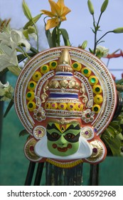 BEGALURU, INDIA - Sep 07, 2012: A decorative, attractive and colorful mask of South Indian folk art Yakshagana