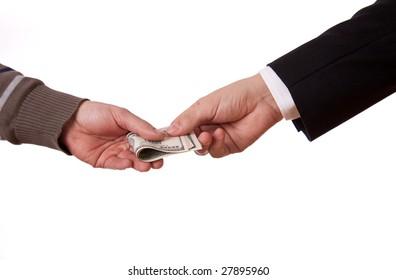 beggar and businessman swap money