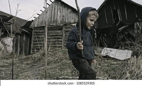 A beggar child. War.