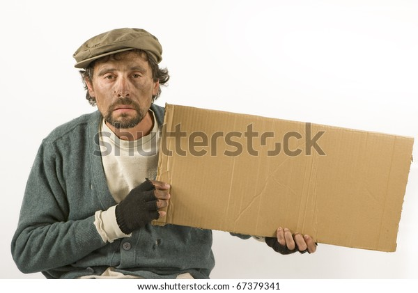 "A beggar holding a piece of corrugated cardboard. Suitable for adding text like ""will work for food"""