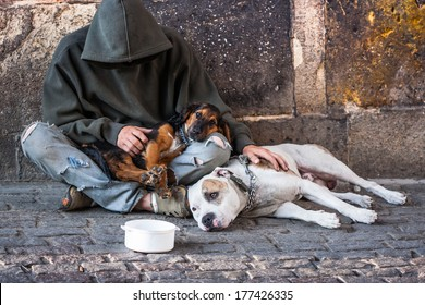 beggar, homeless with two Dogs near Charles Bridge, Prague, Czech republic