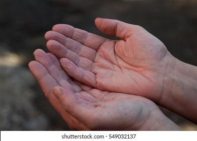 begging palm, begging hand, Hungey man