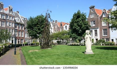 Begijnhof, inner court in Amsterdam, Holland