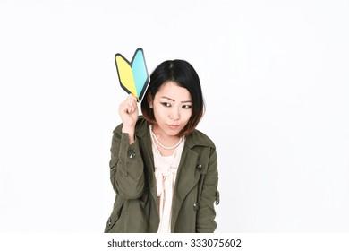 Beginner mark and Japanese woman