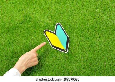 Beginner mark on the green grass