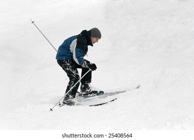 Beginner skier struggling in the snow