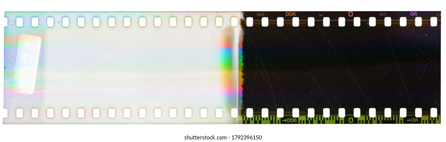 Beginning of 35mm negative film strip, first frame on white background, real scan of film material with funny scanning light interferences on the film material.