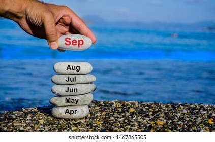The beginning of autumn / fall season. September and back to school concept. The ninth month of the year. The end of the third quarter.