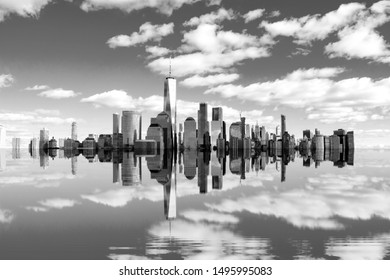 The beginning of the end, climate change does not exist, phrase of D.Trump, Artistic black and white photograph of New York flooded by the rising sea,