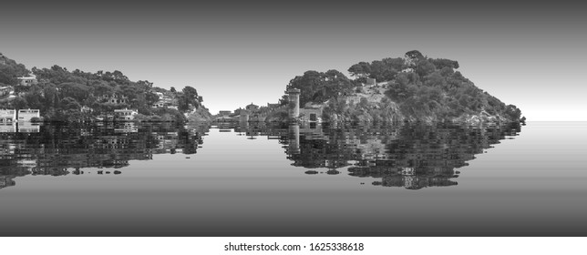 The beginning of the end,  climate change does not exist, phrase of D.Trump, climate change,  Artistic black and white photograph of Tosa del Mar, Spain, flooded by the rising sea waters,