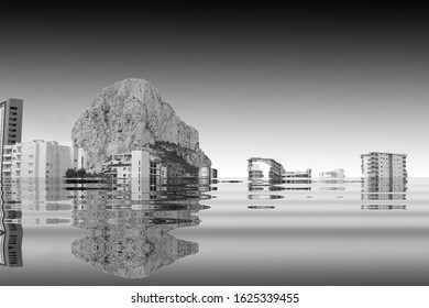 The beginning of the end,  climate change does not exist, phrase of D.Trump, climate change,  Artistic black and white photograph of Calpe, Spain, flooded by the rising sea waters,