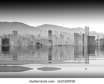 The beginning of the end,  climate change does not exist, phrase of D.Trump, climate change,  Artistic black and white photograph of  Benidorm,  Spain, flooded by the rising sea waters,