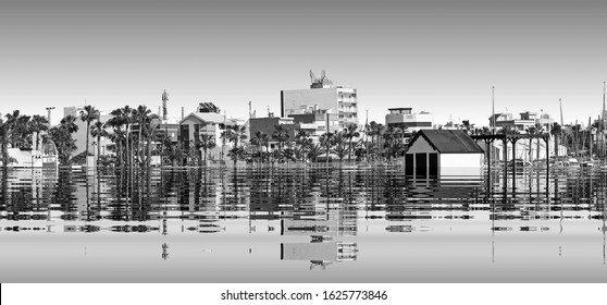 The beginning of the end,  climate change does not exist, phrase of D.Trump, climate change,  Artistic black and white photograph of  San Pedro del Pinatar, Spain, flooded by the rising sea waters,