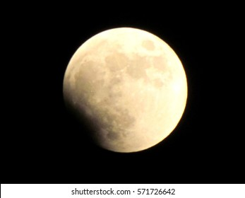 The beginning of the lunar eclipse in Or Yehuda, Israel, June 15, 2011