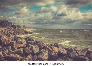 the beginning of poland sea beach stones landscape
